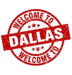 Welcome to dallas red stamp vector