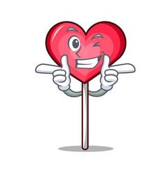 Wink heart lollipop character cartoon vector