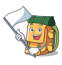 with flag backpack mascot cartoon style vector image