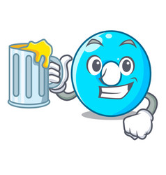 with juice cartoon the number zero color blue vector image