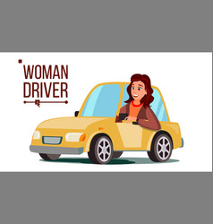 Woman driver sitting in modern automobile vector