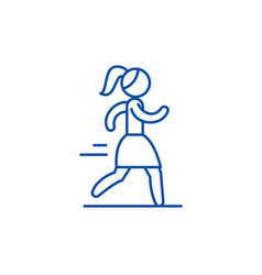 woman running line icon concept woman running vector image