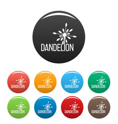 Yellow dandelion logo icons set color vector