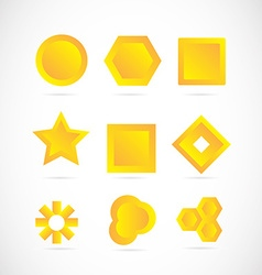 Yellow logo icon elements set vector image