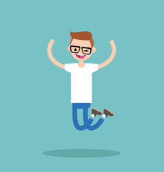 young winking jumping nerd boy flat editable vector image