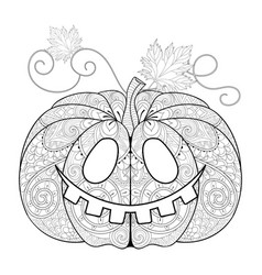Zentangle stylized pumpkin face for halloween vector