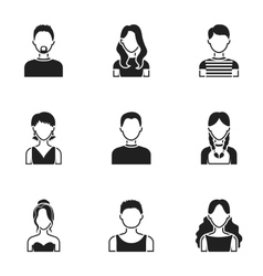 Avatar set icons in black style Big collection of vector image