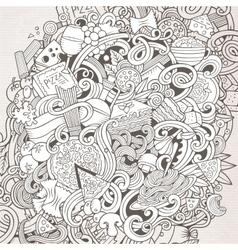 Cartoon hand-drawn doodles Italian food vector image