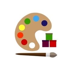 Color palette and brush flat icon vector image