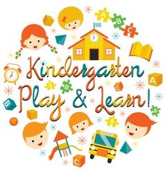 Kindergarten preschool kids heading vector