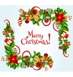 Merry Christmas poster with decorations vector image vector image