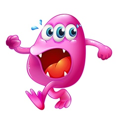 A three-eyed pink beanie monster trying to escape vector image vector image