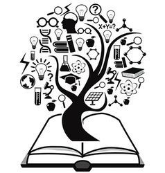 black education icons tree up from book vector image vector image