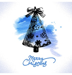Christmas hand drawn watercolor background vector image