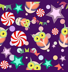 Funny cartoon seamless pattern party owls vector