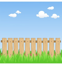 spring field with fence vector image vector image