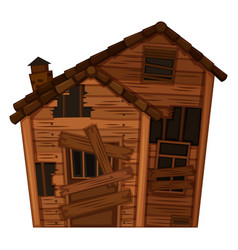 wooden house in poor condition vector image
