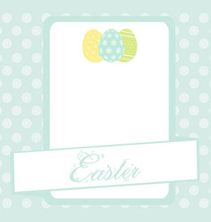 bule easter banner background with eggs vector image