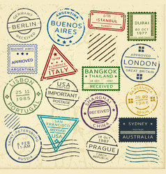 colorful vintage postage stamps set vector image