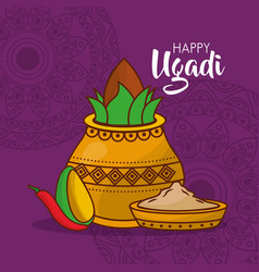 happy ugadi poster indian fest celebration vector image