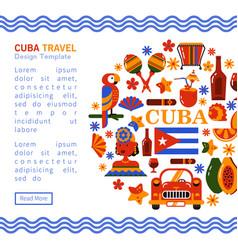 Travel banner cuba havana vector