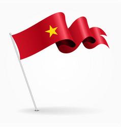vietnamese pin wavy flag vector image