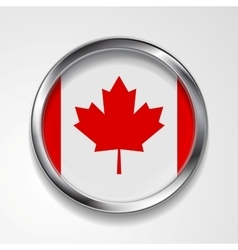 Abstract button with metallic frame Canadian flag vector image vector image