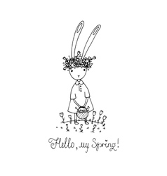Easter bunny in a wreath vector image