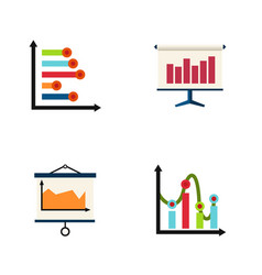 Flat icon diagram set of graph infographic chart vector