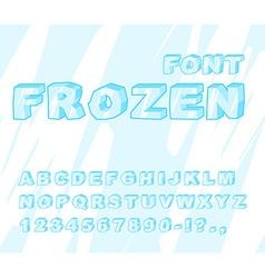 Frozen font ice alphabet transparent abc cold blue vector