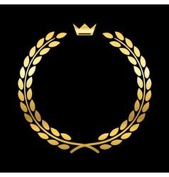 Gold laurel wreath crown leaf vector