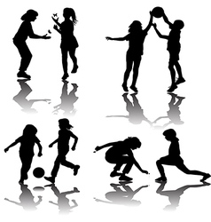Group of playing children silhouettes vector image vector image