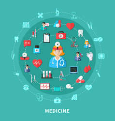 medicine flat round composition vector image vector image