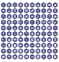 100 cafe icons hexagon purple vector