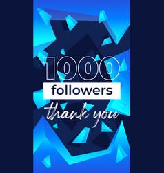 1000 followers vertical banner for social network vector