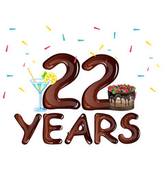 22 years anniversary celebration birthday vector image