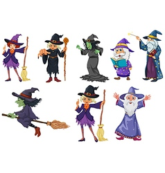 A group of witches vector