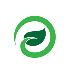 abstract circle leaf eco logo vector image