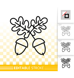 Acorn oak fruit simple black line icon vector