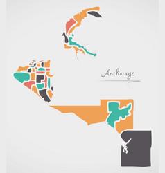 anchorage alaska map with neighborhoods and vector image