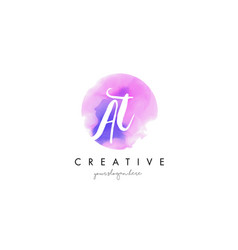 at watercolor letter logo design with purple vector image