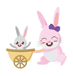 beautiful rabbits mother and son easter characters vector image