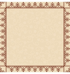 beige floral background with ornamental frame vector image
