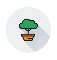 Bonsai tree icon on round background vector