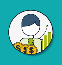 Businessman money finance statistics digital vector