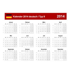 Calendar 2014 German Type 9 vector image