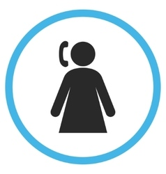 Calling Woman Flat Rounded Icon vector image