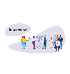 cameraman recording female journalist reporter vector image