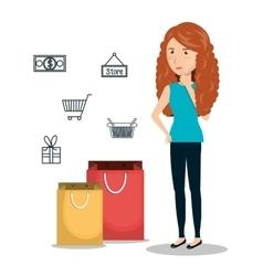 cartoon woman e-commerce isolated design vector image