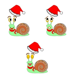 Christmas snails with different facial expressions vector image